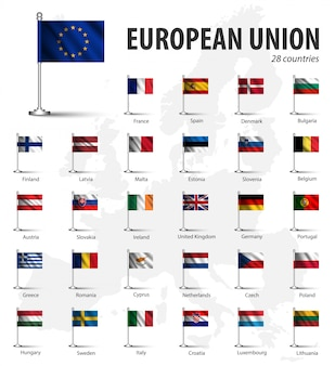 Realistic flag of european union ( eu ) and membership with flagpole on europe map backgro