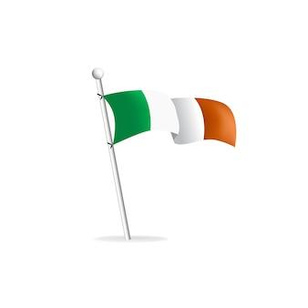 白い背景の上の現実的な旗アイルランドベクトルイラスト