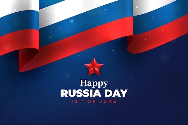 Realistic flag and star happy russia day