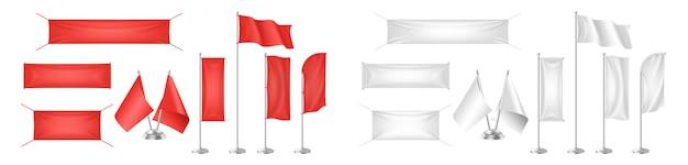 リアルな旗、テキスタイルバナー、キャンバス、ペナントのモックアップは、グラフィックデザイン用に白と赤で空になっています。 3dファブリックの垂直および水平フラグが設定されています。広告とプロモーションは空白。ベクトルイラスト