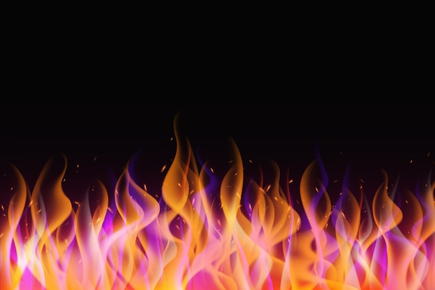 Realistic flames frame background