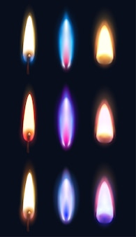Realistic flames of various shape and color of matches lighters and candles  isolated illustration