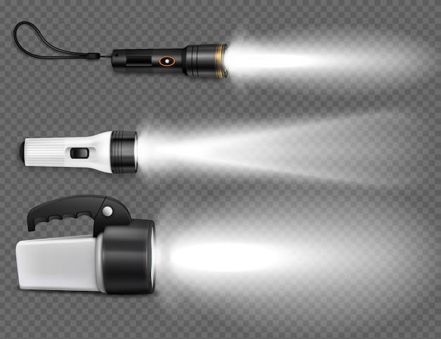 Realistic flashing flashlights icon set