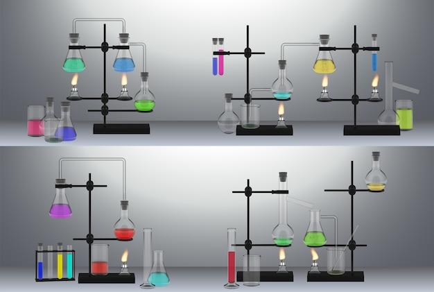 現実的なフラスコセットのコレクション。リアリズムスタイルのテンプレートには、化学機器成分液体試薬酸が描かれています。医療科学実験とテスト分析の図。