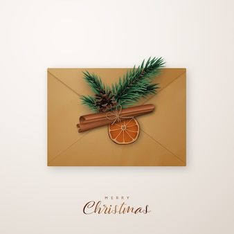 Realistic flat lay composition with an post envelopment.