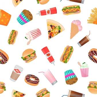 Realistic flat pattern of fast food