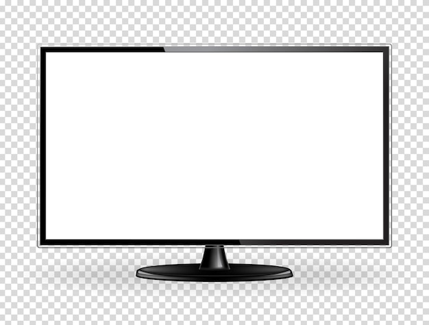リアルなフラットテレビ画面。モダンな液晶壁パネル、ledタイプ、白い背景で隔離。大型コンピューターモニターディスプレイのモックアップ。空白のテレビテンプレート。グラフィックデザイン要素。ベクトルイラスト