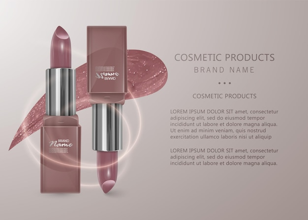 Realistic flesh-colored lipstick. 3d illustration, trendy cosmetic design