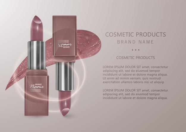 Realistic flesh-colored lipstick. 3d illustration, trendy cosmetic design