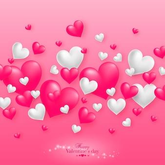 幸せなバレンタインデーの挨拶とピンクのリアルなフローティング3dバレンタインハート。