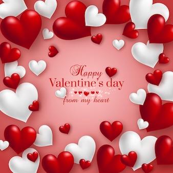 幸せなバレンタインデーの挨拶で赤のリアルなフローティング3dバレンタインハート。