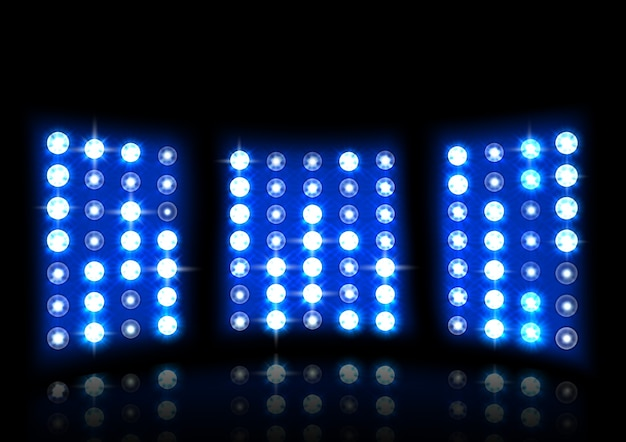 Realistic floodlight of stadium on a dark background