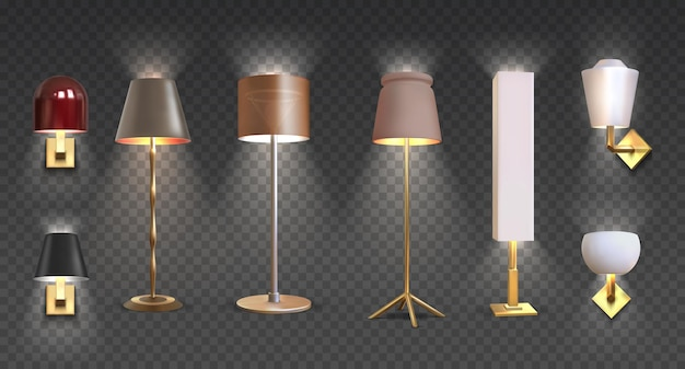 Realistic floor lamp. 3d closeup render of modern electric torchere with light isolated on transparent background. vector illustration light furniture set for illumination interior