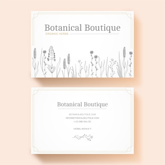 Realistic floral business card template