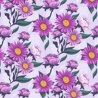Realistic floral decorative pattern with daisies