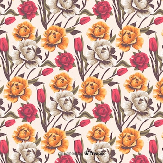 Realistic floral decorative pattern with roses