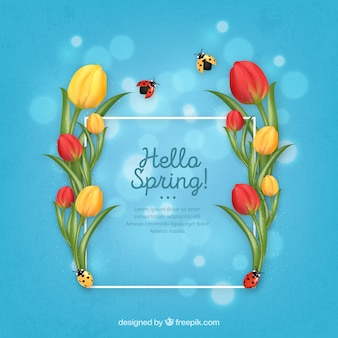 Realistic floral frame hello spring
