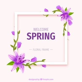 Realistic floral frame welcome spring