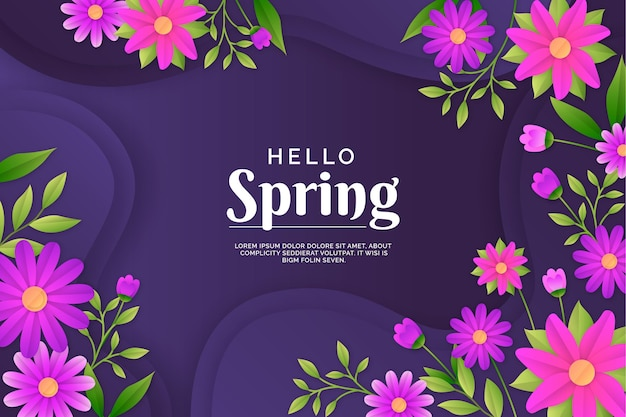 Realistic floral spring background in paper style