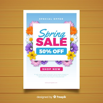 Realistic floral spring sale poster