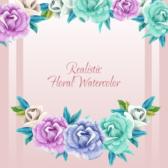 Realistic floral watercolor frame