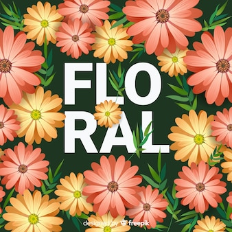 Realistic flower and leaves background
