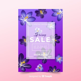 Realistic flower spring sale poster