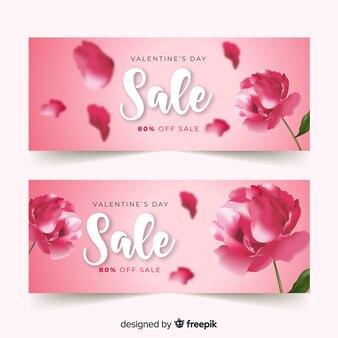 Realistic flower valentine sale banner
