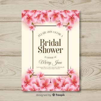 Realistic flowers bridal shower card template