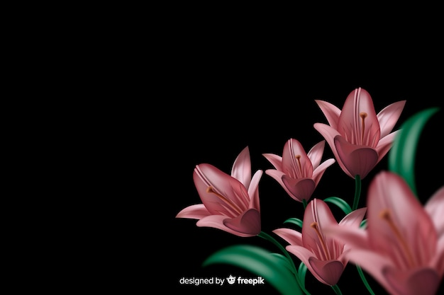 Realistic flowers on a dark background