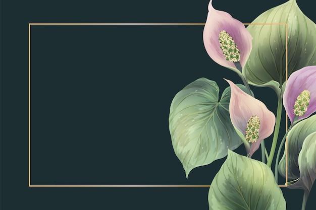 Realistic flowers frame illustration