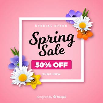 Realistic flowers spring sale background