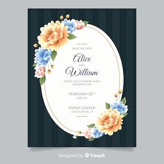 Realistic flowers wedding invitation template