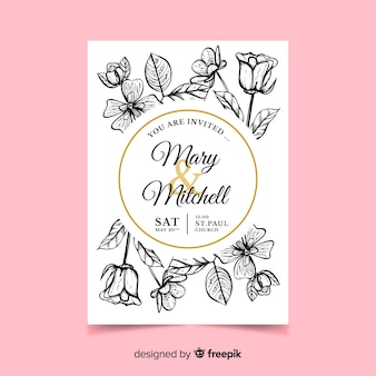 Realistic flowers wedding invitation