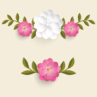 Realistic flowers with leaves set