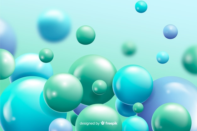 Realistic flowing blue balls background