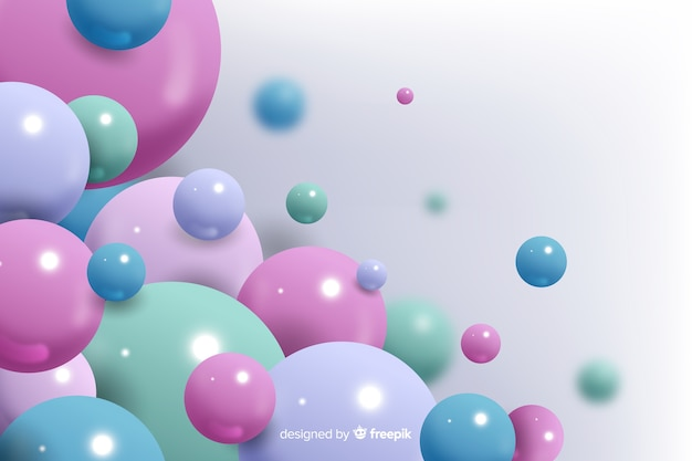 Realistic flowing colorful balls background