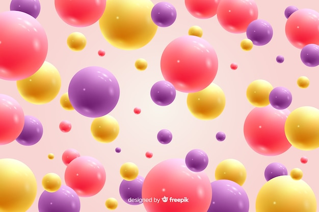 Realistic flowing glossy balls background closeup