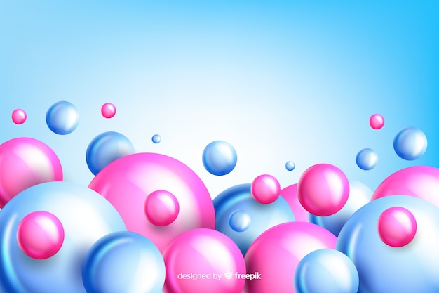 Realistic flowing glossy balls background with copyspace