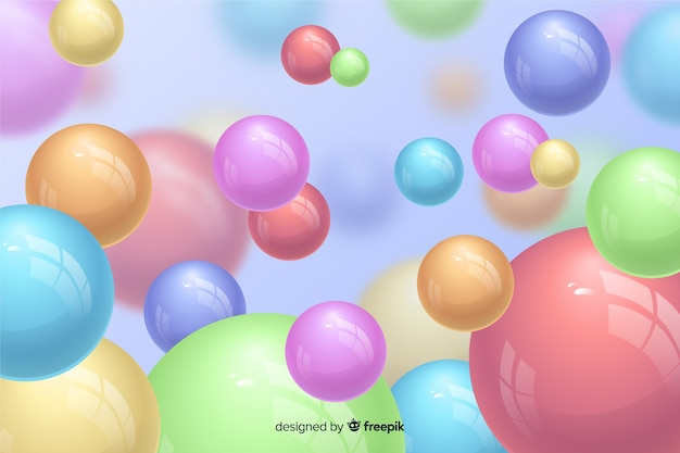Realistic flowing glossy balls background