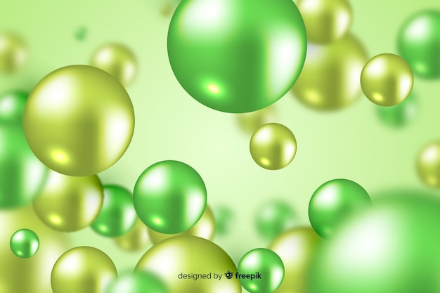 Realistic flowing green glossy balls background