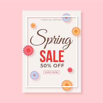 Realistic flyer for spring sale