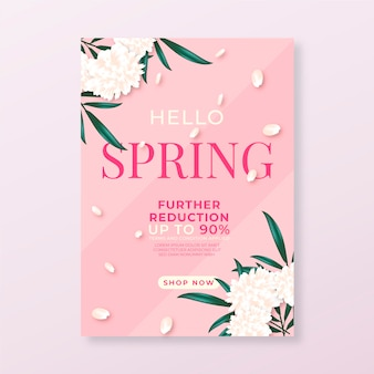 Realistic flyer template for spring sale with flowers