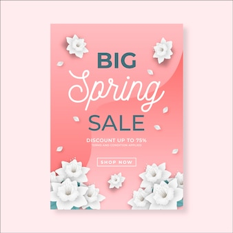 Realistic flyer template for spring sale