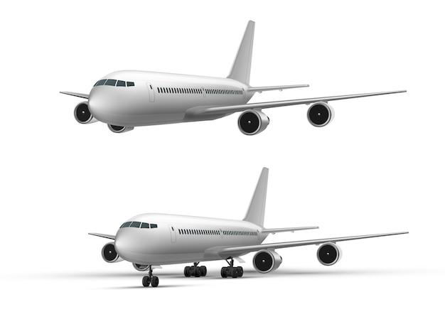 Реалистичный летающий и стоящий самолет, реактивный самолет или авиалайнер в перспективе. детализированный пассажирский воздушный самолет белого цвета. реалистичный набор макетов самолета. символ путешествия или грузовых авиаперевозок.