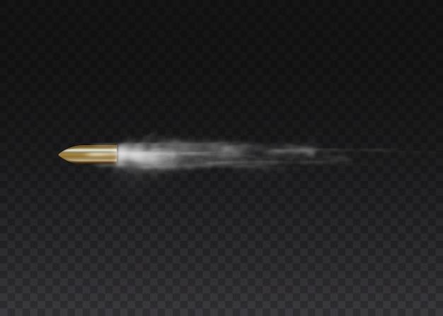 모션에서 현실적인 비행 총알입니다. 총성, 총알, 군용 연기 흔적. 투명 한 배경에 고립 된 추적을 연기. 권총 촬영 흔적.