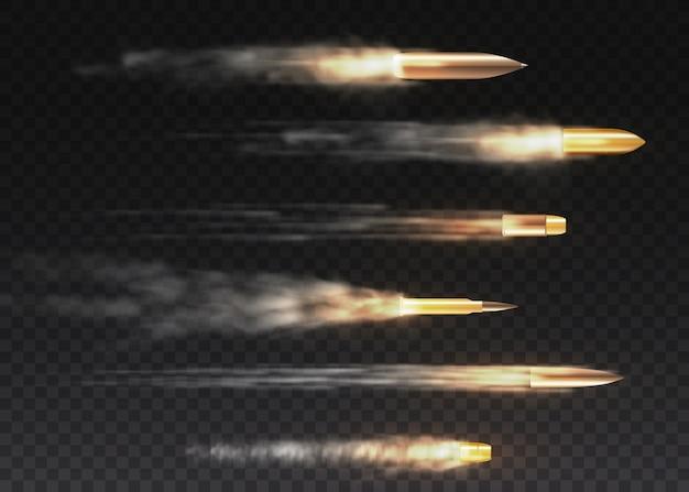 動きのあるリアルな飛行弾。銃声、弾丸、軍事用煙道。透明な背景に分離された煙の痕跡。拳銃は道を撃ちます。 Premiumベクター