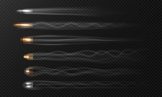 Реалистичная летающая пуля. следы дыма изолированные