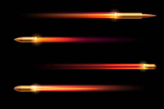 Реалистичная летающая пуля из огнемета изолирована на черном фоне