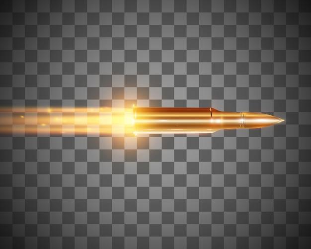 화염 방사기와 현실적인 비행 총알은 투명한 배경에 고립 된 총알이 움직입니다.